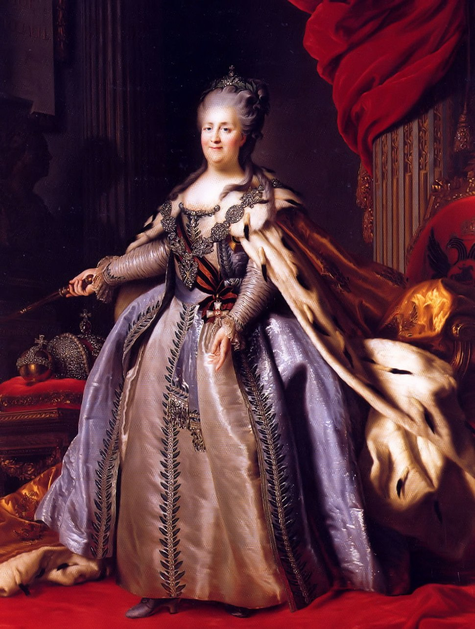 Catherine II by F.Rokotov after Roslin (1780s, Hermitage) 2