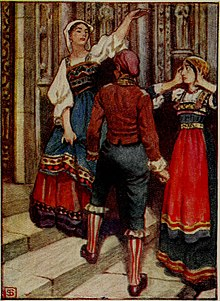 Cavalleria Rusticana - 'Turiddu, Santuzzo and Lola at the church door', by Byam Shaw.jpg