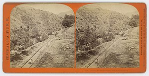 Alameda Creek - Central Pacific Railroad, and Alameda Creek. Stereo photo taken between 1867 and 1869.