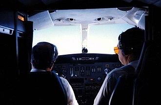 Cessna Citation II - Cessna S550 Citation II flight deck while airborne