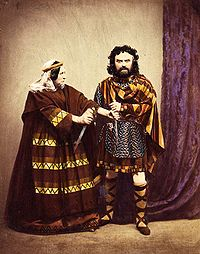 Charles Kean and his wife as Macbeth and Lady Macbeth, in costumes aiming to be historically accurate (1858).