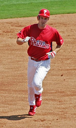 2009 World Series - Phillies second baseman Chase Utley, pictured during spring training in 2007, tied a World Series record with five home runs in the series.