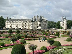view of the diane de poitiers garden from the chateau de chenonceau