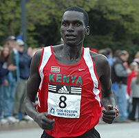 Robert Cheruiyot in 2006 Boston Marathon as he...