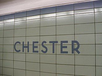 Chester station (Toronto) - Platform tiles and name