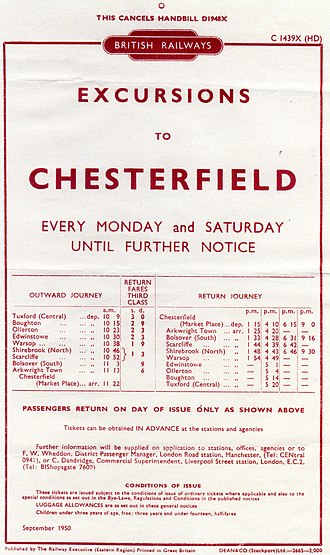 Chesterfield Market Place railway station - 1950 Excursion Advert