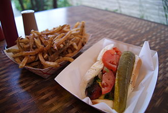 Chicago-style hot dog - Chicago-style hot dog with duck-fat fries.