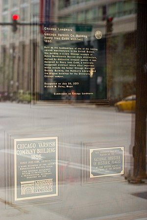 Chicago Varnish Company Building - markers of the building behind glass