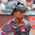 Christian Bethancourt with catchers mask Sept 2014.jpg