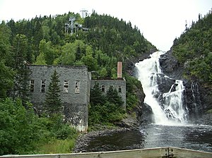 Chambord, Quebec - Old mill and waterfall on the Ouiatchouane River in Val-Jalbert.