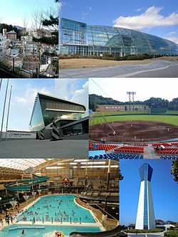 Top: Iwaki Yumoto Onsen, Aquamarine Fukushima Middle: Iwaki-Taira Velodrome, Iwaki Green Stadium Bottom: Spa Resort Hawaiians, Iwaki Marine Tower