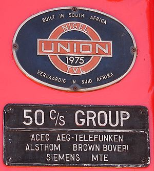 South African Class Experimental AC - No. E1600's works plates