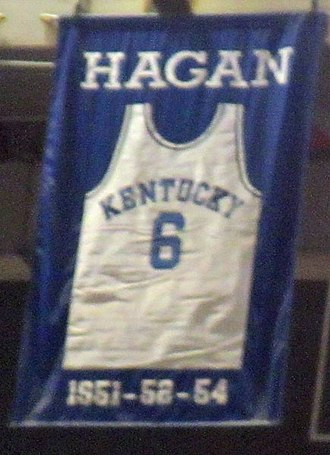 Cliff Hagan - A jersey honoring Hagan hangs in Rupp Arena.