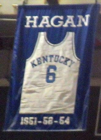 Cliff Hagan - A jersey honoring Hagan hangs in Rupp Arena.