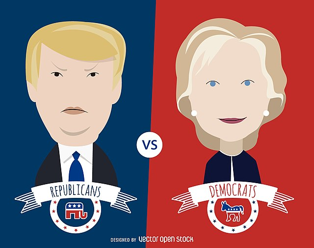 Clinton_and_Trump_cartoon_illustration.jpg: Clinton and Trump cartoon illustration