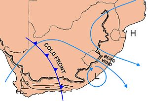 "Berg wind -  The weather pattern commonly associated with a berg wind and accompanying coastal low along the coast of South Africa. The light blue lines indicate surface wind directions. The ""H"" indicates the position of a portion of the South Indian Ocean Anticyclone (high pressure system); the ""L"" indicates the position of the coastal low."