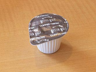 "Non-dairy creamer - A plastic container of ""Coffee Fresh"", a liquid non-dairy creamer sold in Japan."