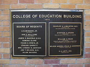 University of Texas at Austin College of Education - Among the members of The Board of Regents were former Texas governor Allan Shivers and former First Lady Mrs. Lyndon Baines Johnson.