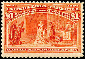 Commemorative stamp - The $1 stamp included in the US issue of commemoratives, introduced on January 2, 1893
