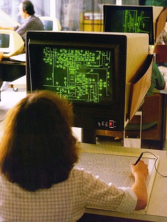 Computervision - A Computervision Inc. CADDS3 system being used to create a piping and instrumentation diagram in a training lab, circa 1979.