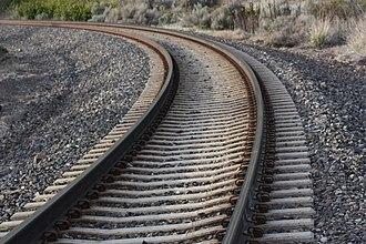 Railroad tie - Concrete ties on the BNSF line north of Yakima, Washington