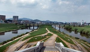 Iizuka, Fukuoka - The confluence of Honami and Onga Rivers