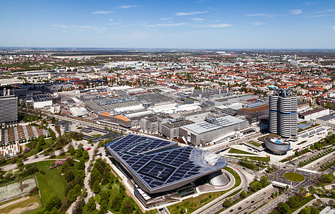 BMW conglomerate in Munich (Germany) including the BMW manufacturing plant, the BMW Welt, the BMW Tower and the BMW Museum