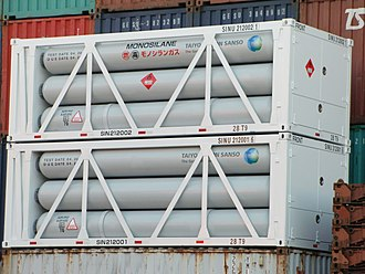 Silane - Monosilane gas shipping containers in Japan.