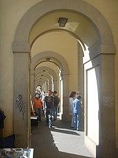 Pasaje cubierto hacia Lungarno en el Ponte Vecchio.