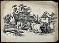 Cows waiting in a relaxed group in a farmyard. Lithograph af Wellcome V0021728.jpg