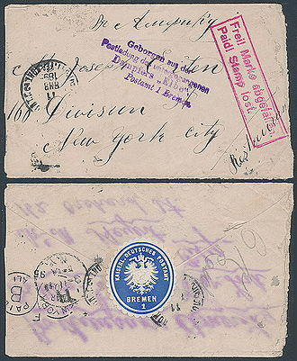 SS Elbe (1881) - Crash cover of a letter salvaged from the sunk SS Elbe in 1895