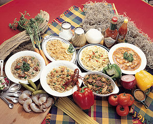 Dishes typical of w:Louisiana Creole cuisine.