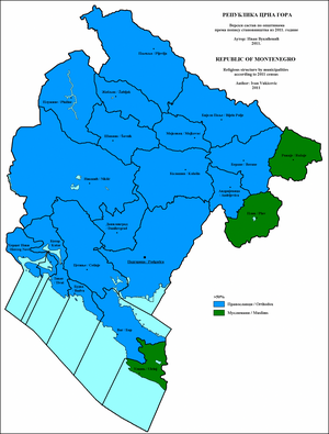 Montenegrins - Religious structure of Montenegro by municipalities 2011.