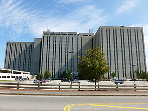 Wang Laboratories - Former Wang headquarters in Lowell, Massachusetts. The building is now called Cross Point and is anchored by Motorola. The horizontal windows at the top of the middle tower housed the executive offices, including An Wang's.