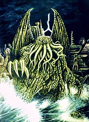 Cthulhu with the insane city R'lyeh in the background.