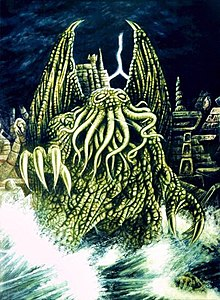 Cthulhu rising from the island R'lyeh