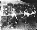 Customers and barbers in Burlick's barber shop, Dawson, probably between 1902 and 1910 (AL+CA 1397).jpg