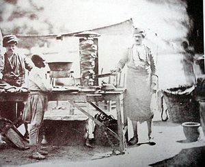 Doner kebab - The earliest known photo of döner, by James Robertson, 1855, Ottoman Empire.