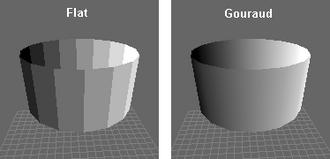 Gouraud shading - Comparison of flat shading and Gouraud shading.