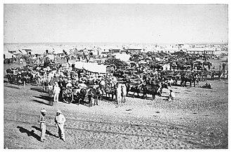 Diamond rush - The New Rush market, Kimberley, South Africa, 1873