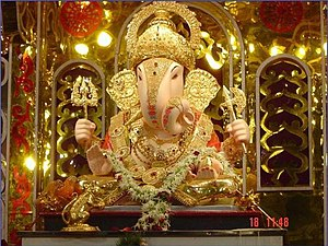 A clay Ganesha murti, worshipped during Ganesh...