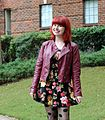 Dark Floral Print Fit and Flare Dress with a Burgundy Moto Jacket (22344900900).jpg