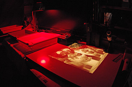 A photographic darkroom with safelight - Photography