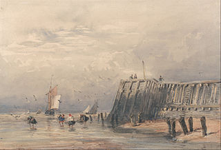 Sailing Barges and Shrimpers off a Pier