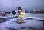 De-icing vehicle in action at Kyiv Zhuliany Airport.jpg