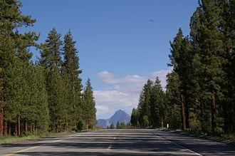 U.S. Route 395 in California - Southbound US 395 cresting Deadman Summit with Mount Morrison in the distance