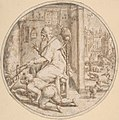 December- And Old Man Seated by a Hearth with a Young Man Blowing on the Fire MET DP801459.jpg