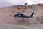 Defense.gov News Photo 120307-N-BV659-443 - A UH-60 Black Hawk helicopter lands to medically evacuate an Afghan commando injured by insurgent small arms fire in the Sar Kani district of.jpg