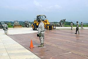 Jungwon Air Base - USAF airmen practice runway repair at Jungwon in 2009