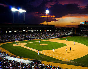 Round Rock Express - An Express game in the Dell Diamond at night